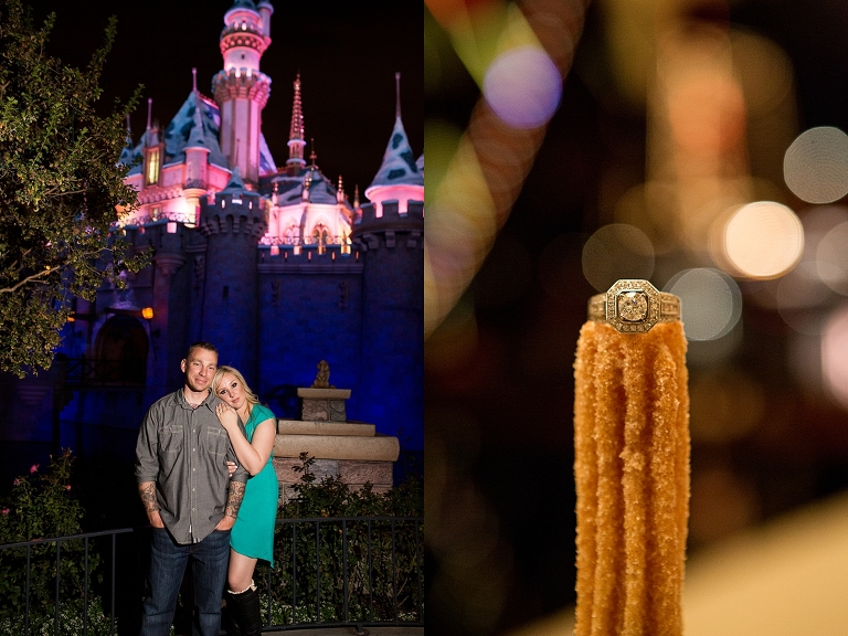 Once upon a time Disneyland engagement session churro engagement ring sleeping beauties castle Southern California wedding photographer_0696