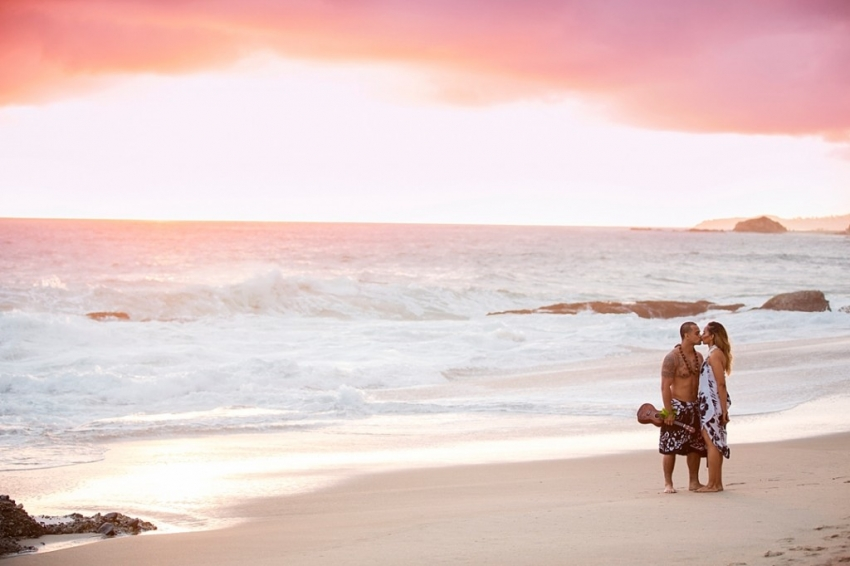 Beach Engagement Photographer based in Inland Empire California Sunset Ukulele Hawaiian Kiss_0001